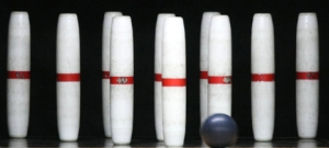 These are not bowling pins and that is not a bowling ball