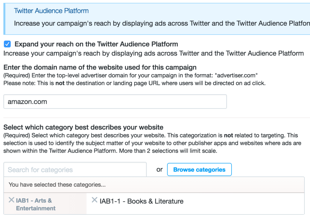 Twitter Audience Platform opt-in